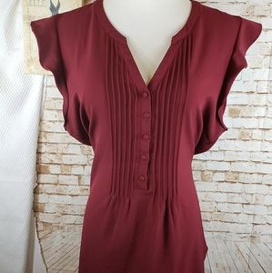 Modcloth XL maroon v-neck cap sleeve blouse top